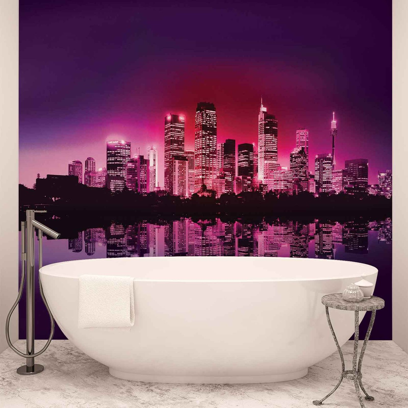 City new york skyline wall paper mural buy at europosters for Poster mural geant new york
