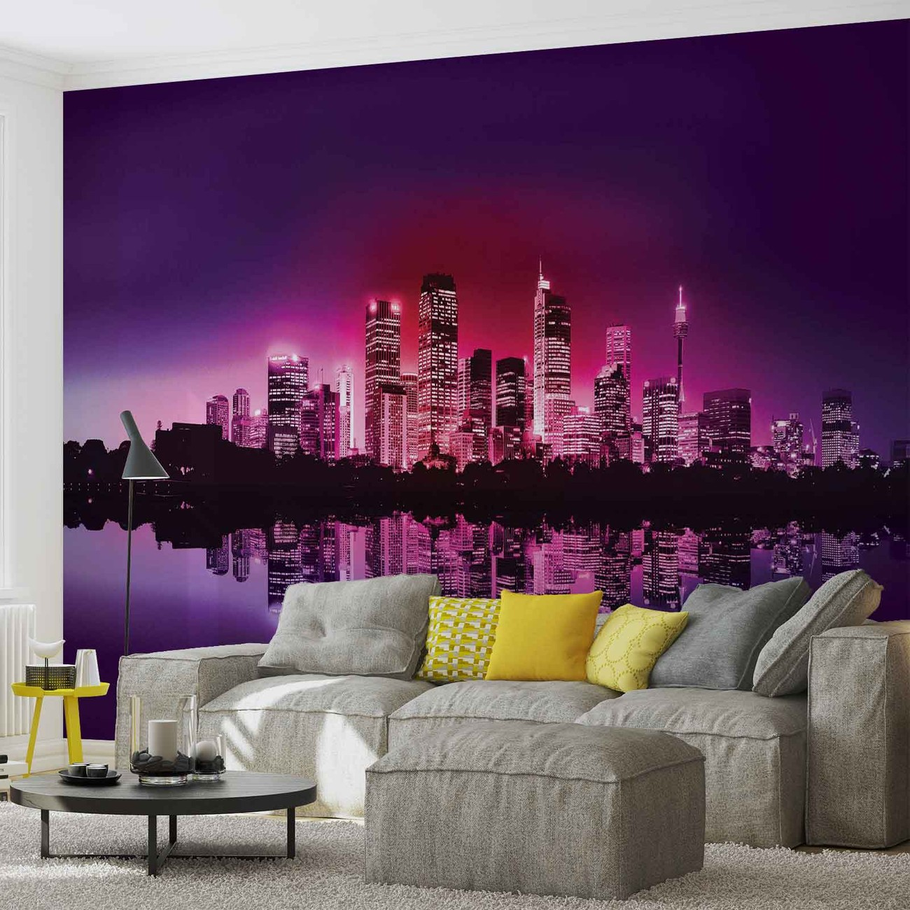 city new york skyline wall paper mural buy at europosters. Black Bedroom Furniture Sets. Home Design Ideas