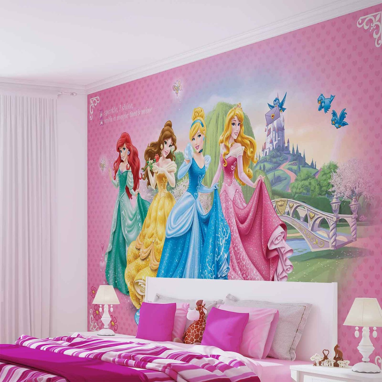 Disney princesses cinderella belle wall paper mural buy for Disney princess wall mural tesco