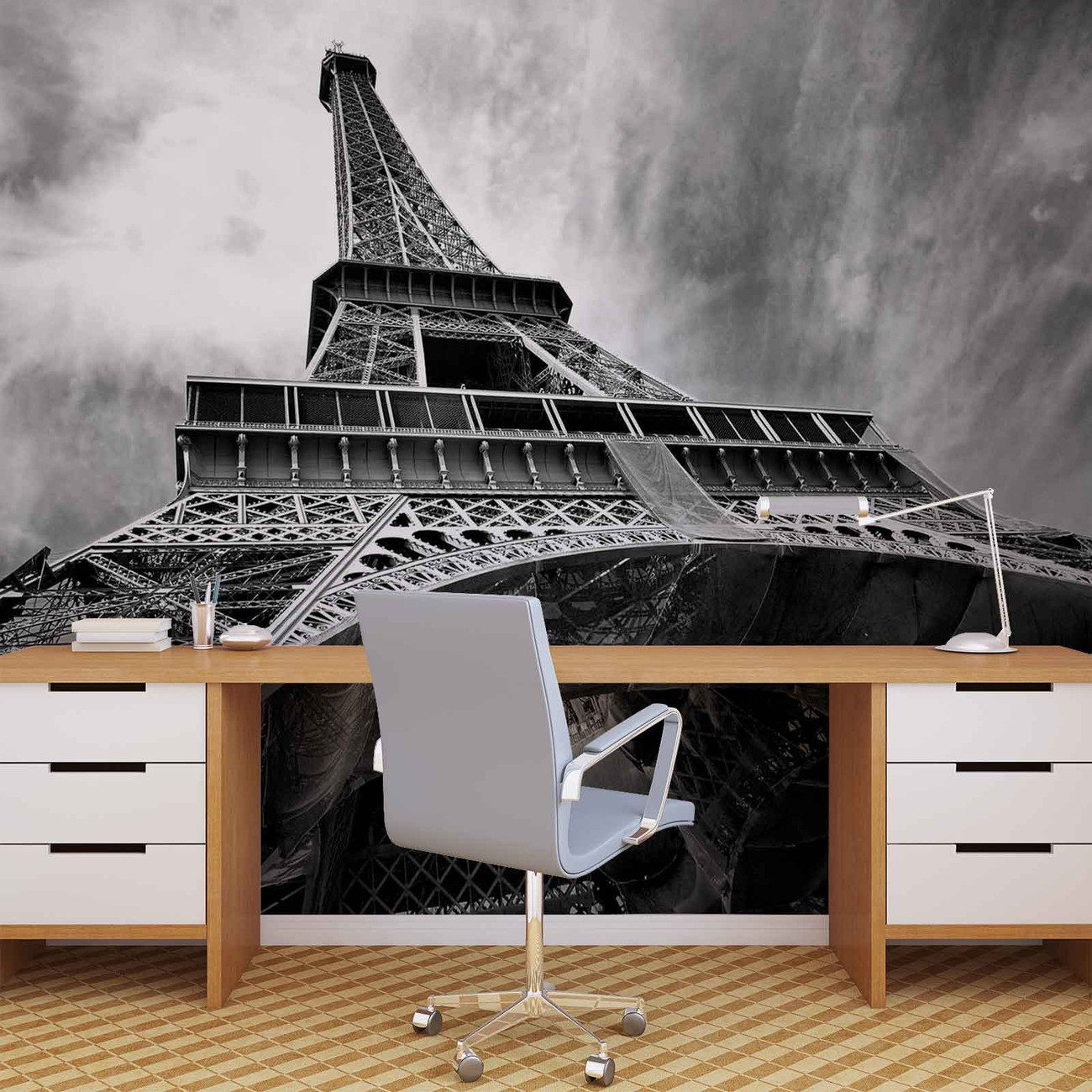 Paris eiffel tower black white wall paper mural buy at for Eiffel tower wall mural black and white