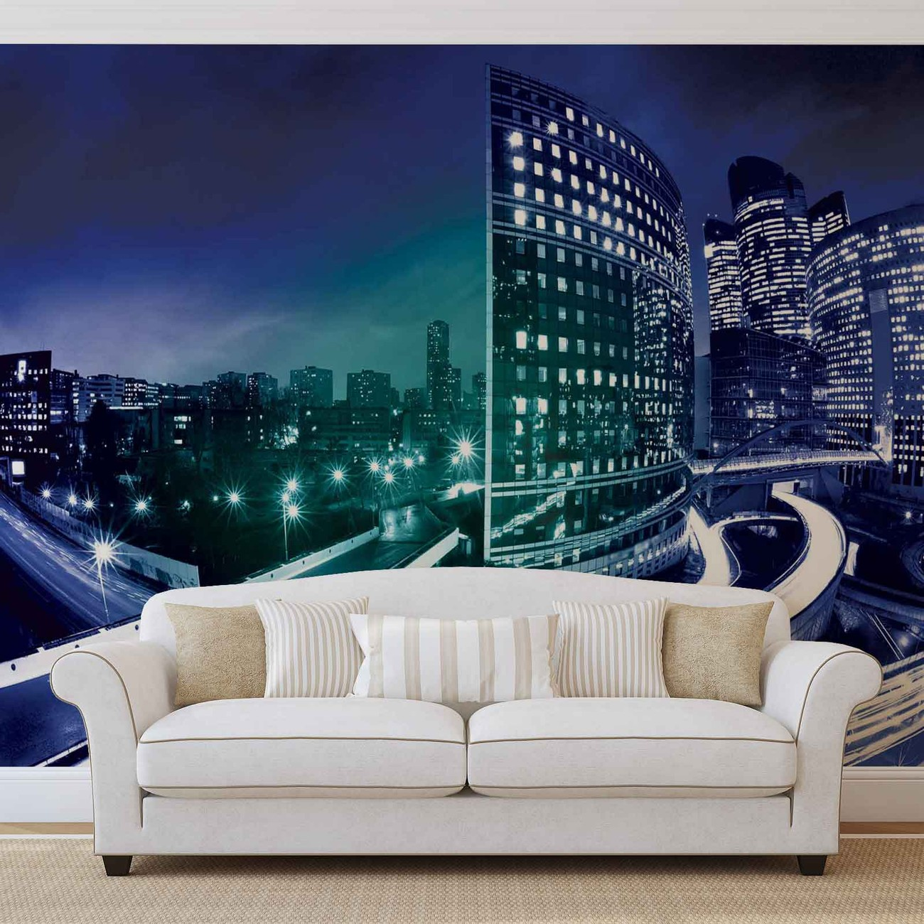 City skyline night wall paper mural buy at europosters for Cityscape murals photo wall mural