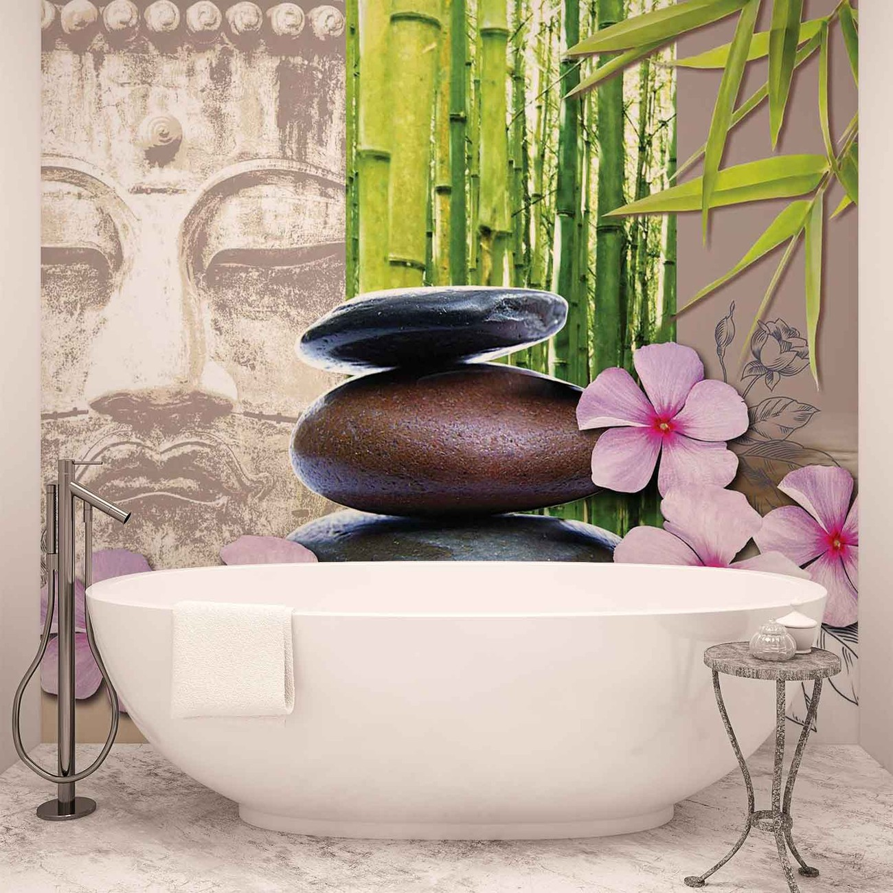 Flowers with zen stones wall paper mural buy at europosters for Poster mural zen deco