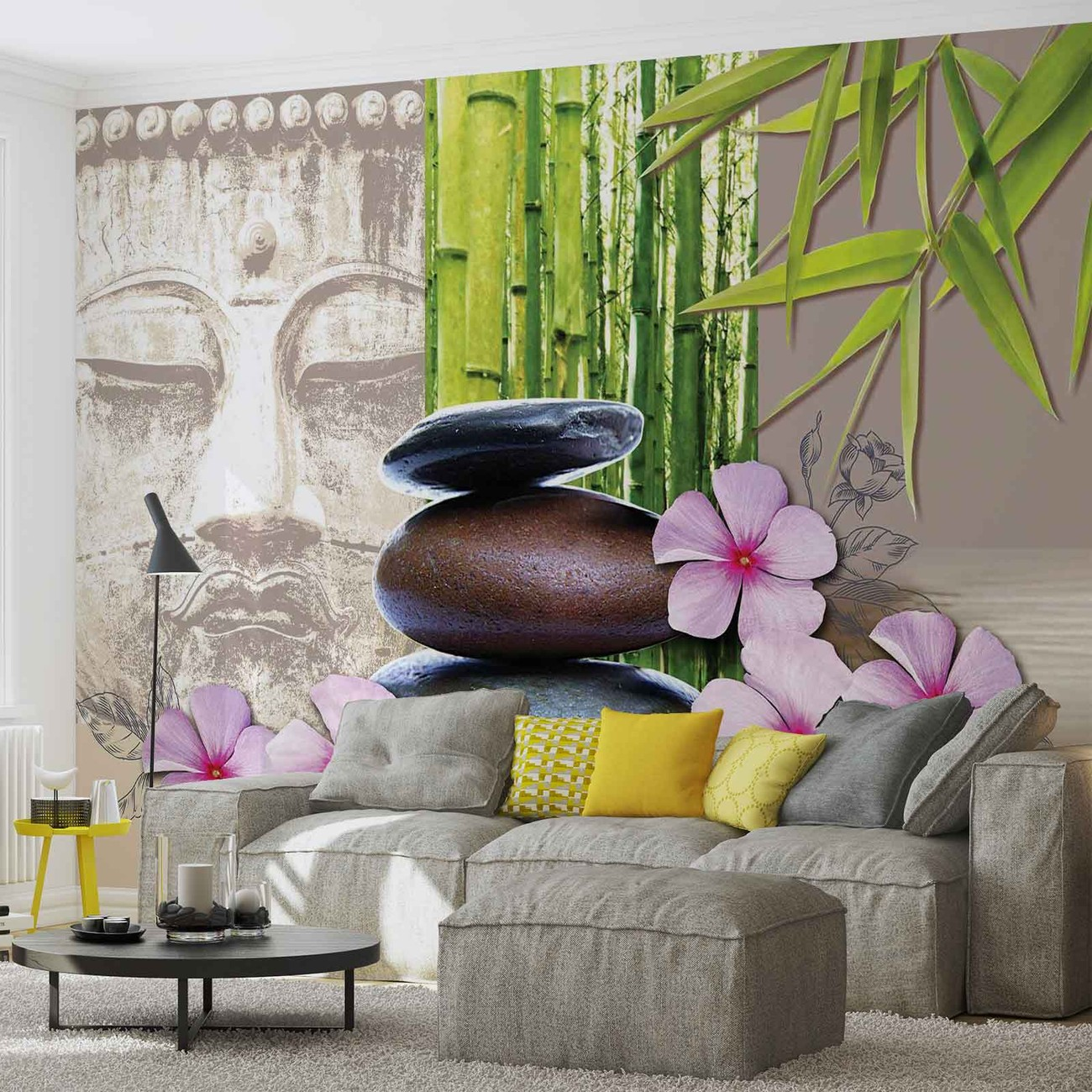 Flowers with zen stones wall paper mural buy at europosters for Poster mural geant zen