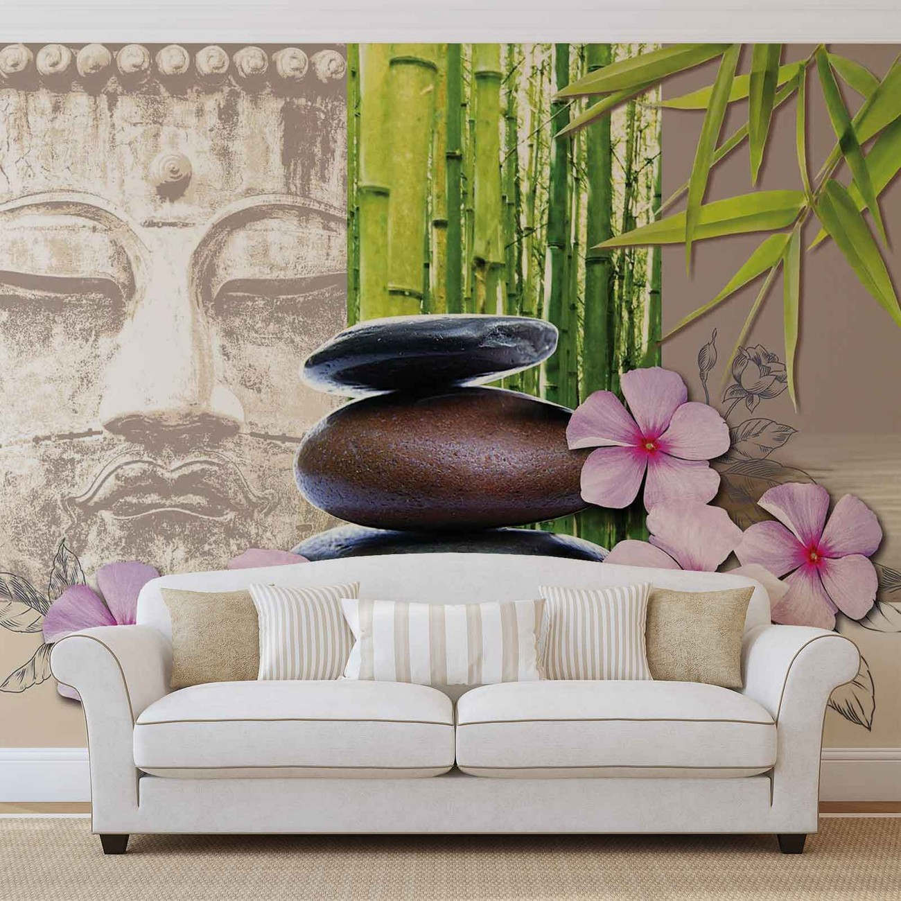 flowers with zen stones wall paper mural buy at europosters. Black Bedroom Furniture Sets. Home Design Ideas