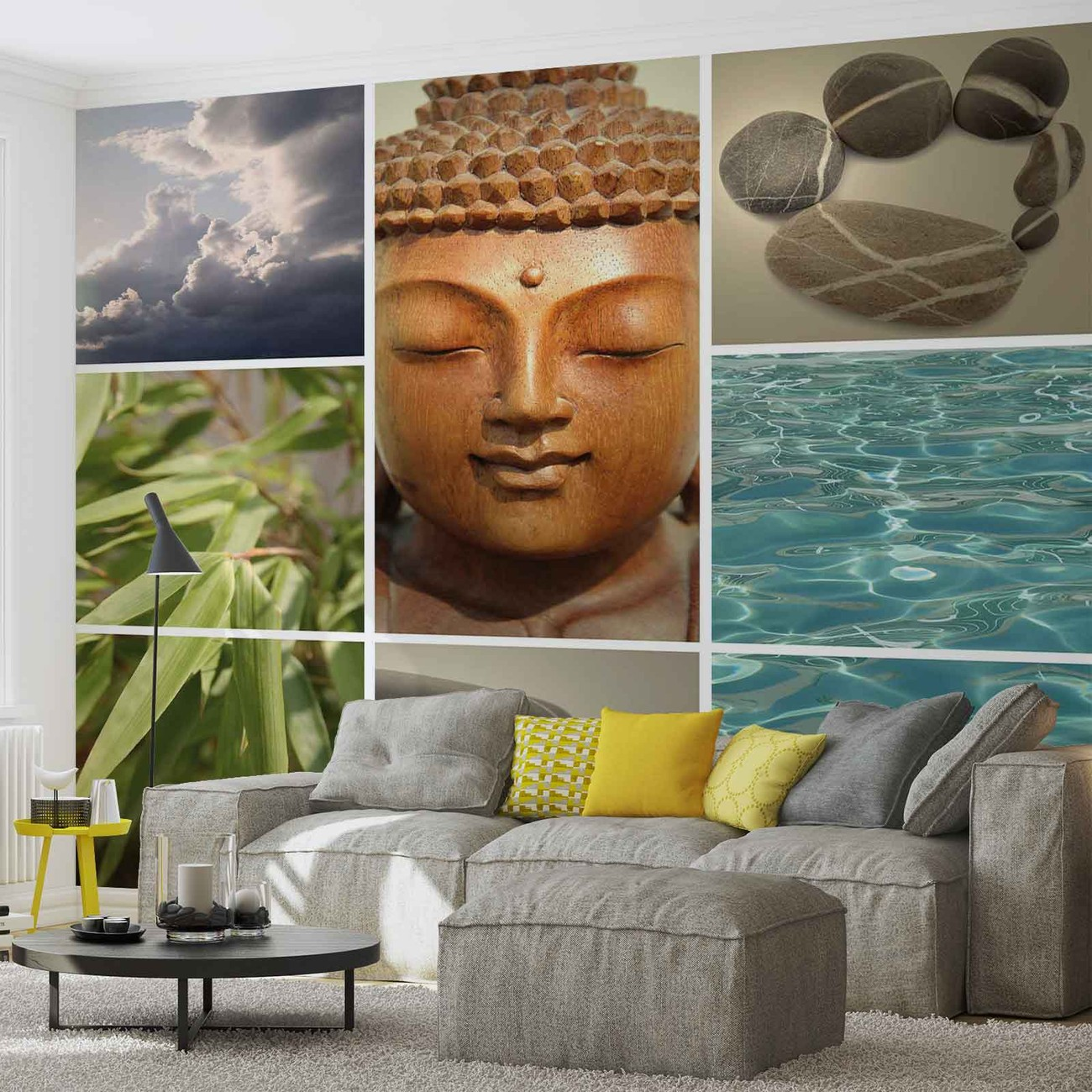 zen calming scene wall paper mural buy at europosters. Black Bedroom Furniture Sets. Home Design Ideas