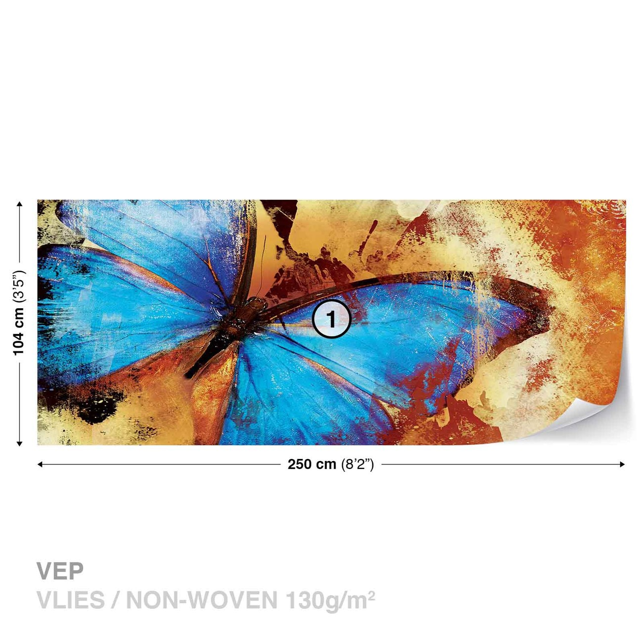 Butterfly art wall paper mural buy at for Butterfly mural