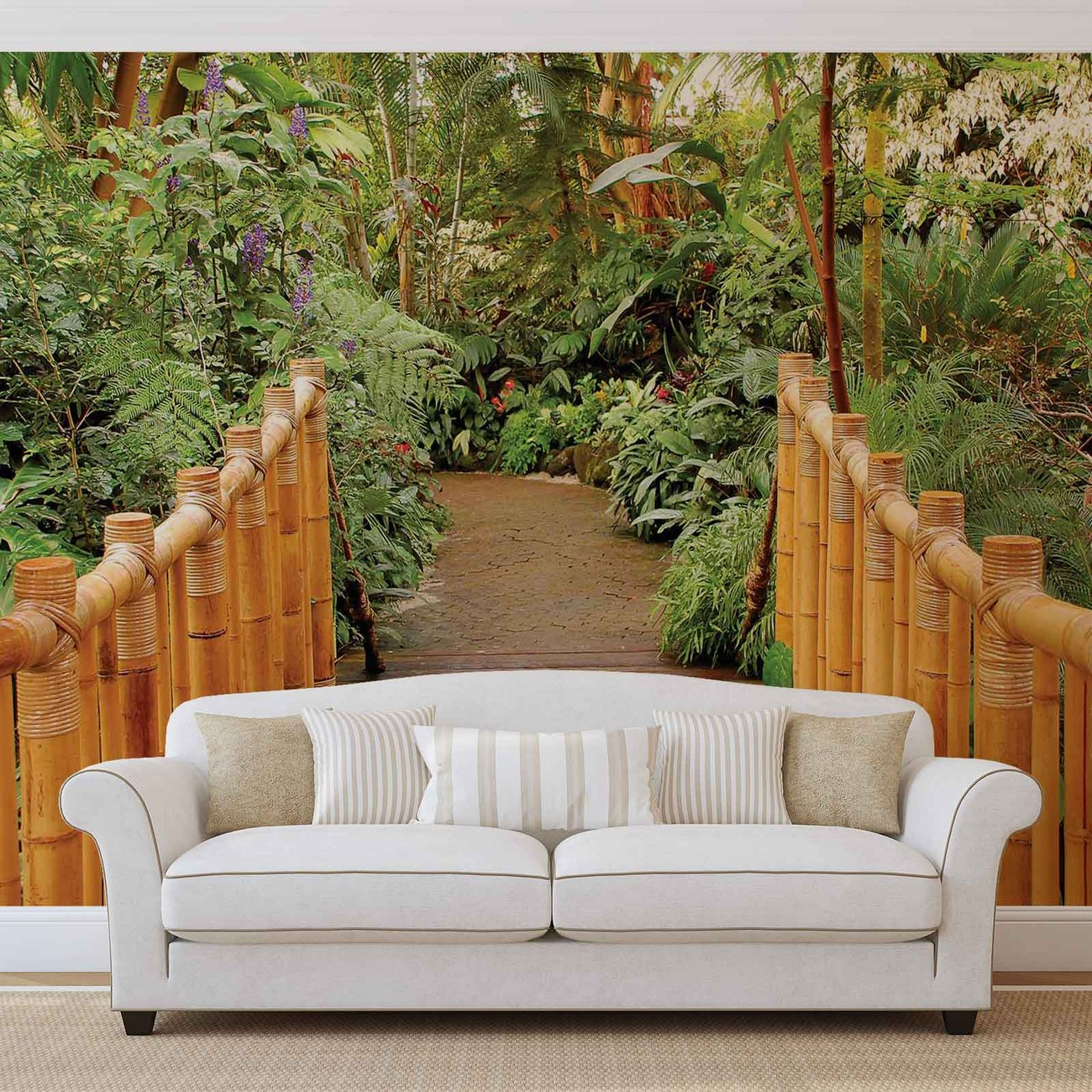 Forest nature path bamboo wall paper mural buy at for Bamboo mural walls