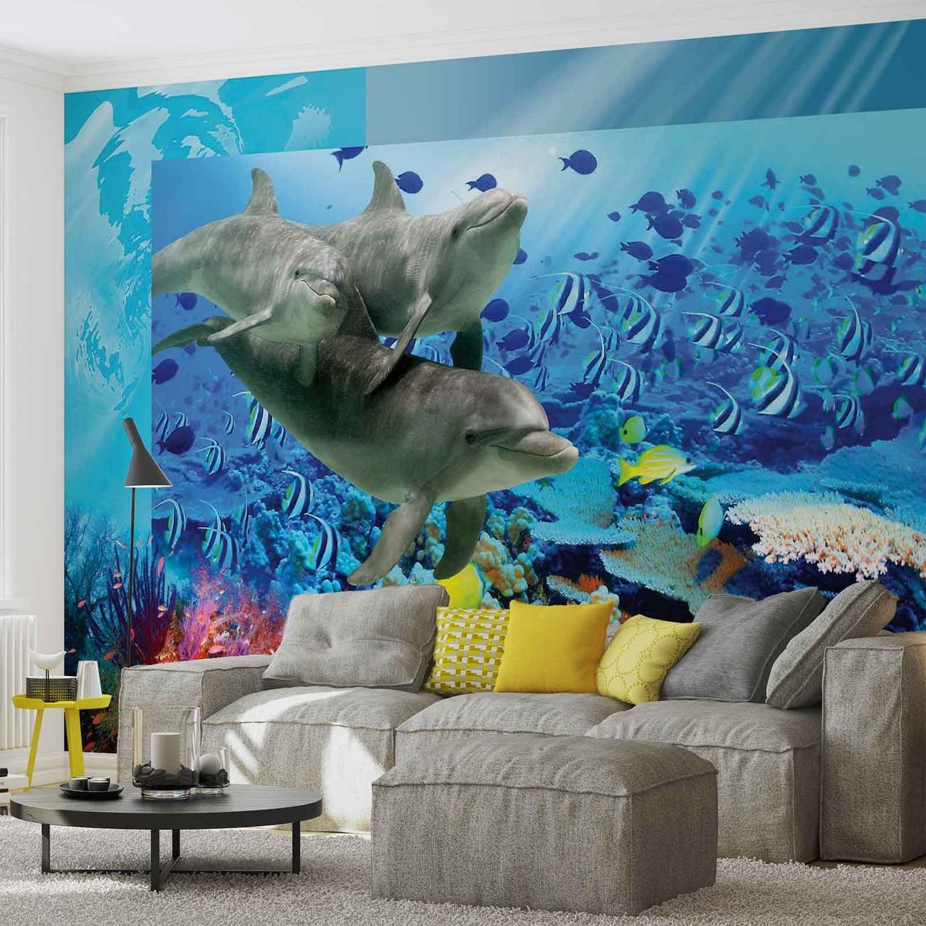 Dolphins tropical fish wall paper mural buy at europosters for Dolphins paradise wall mural