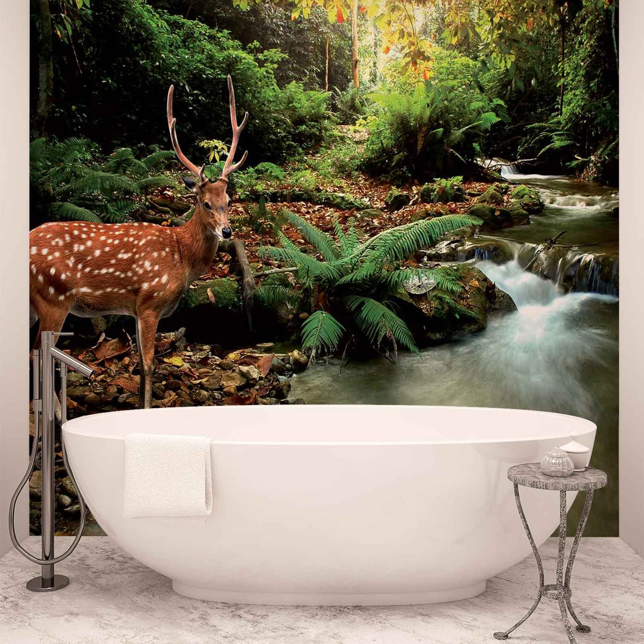 Deer in forest wall paper mural buy at europosters for Deer wall mural