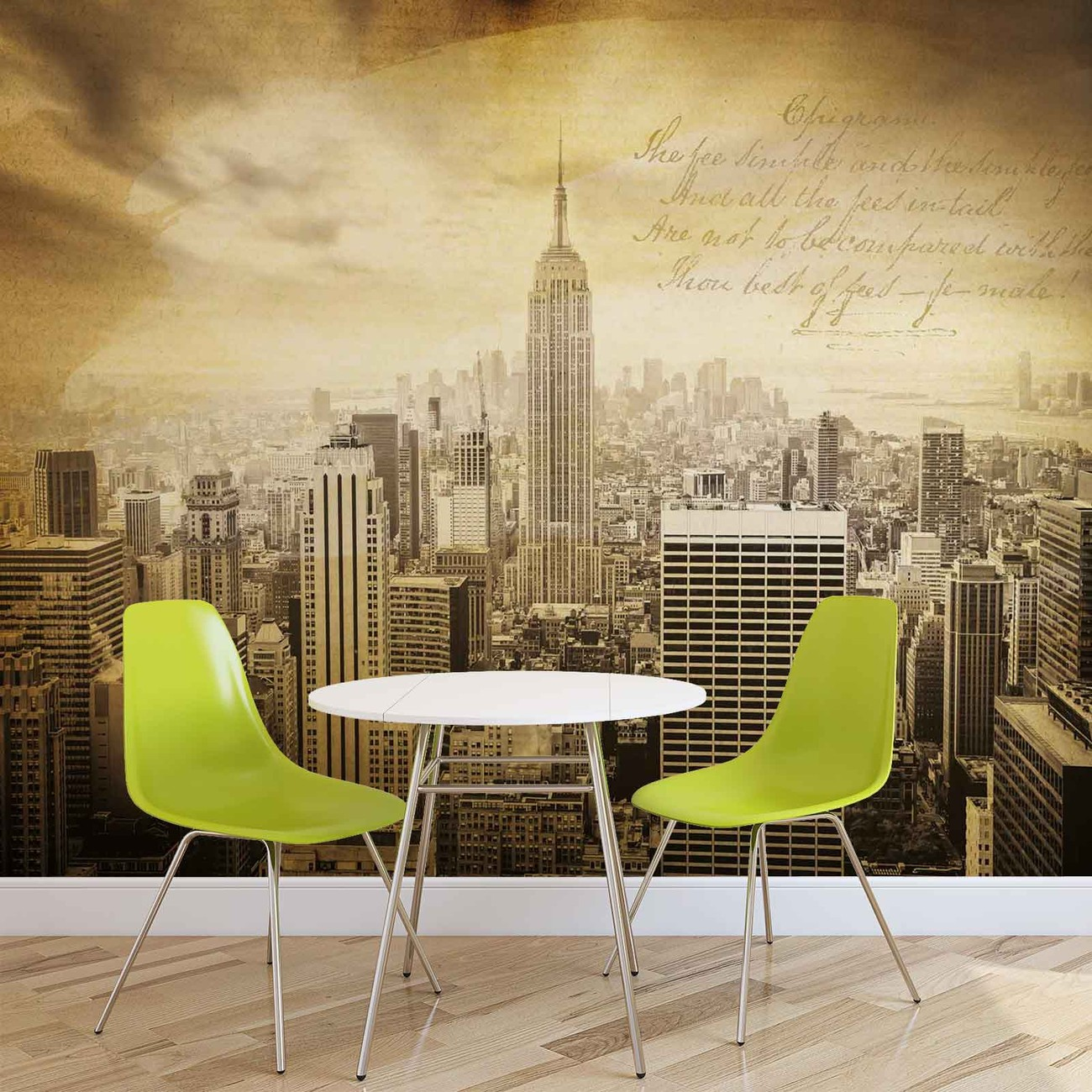 City new york vintage sepia wall paper mural buy at for Acheter poster mural new york