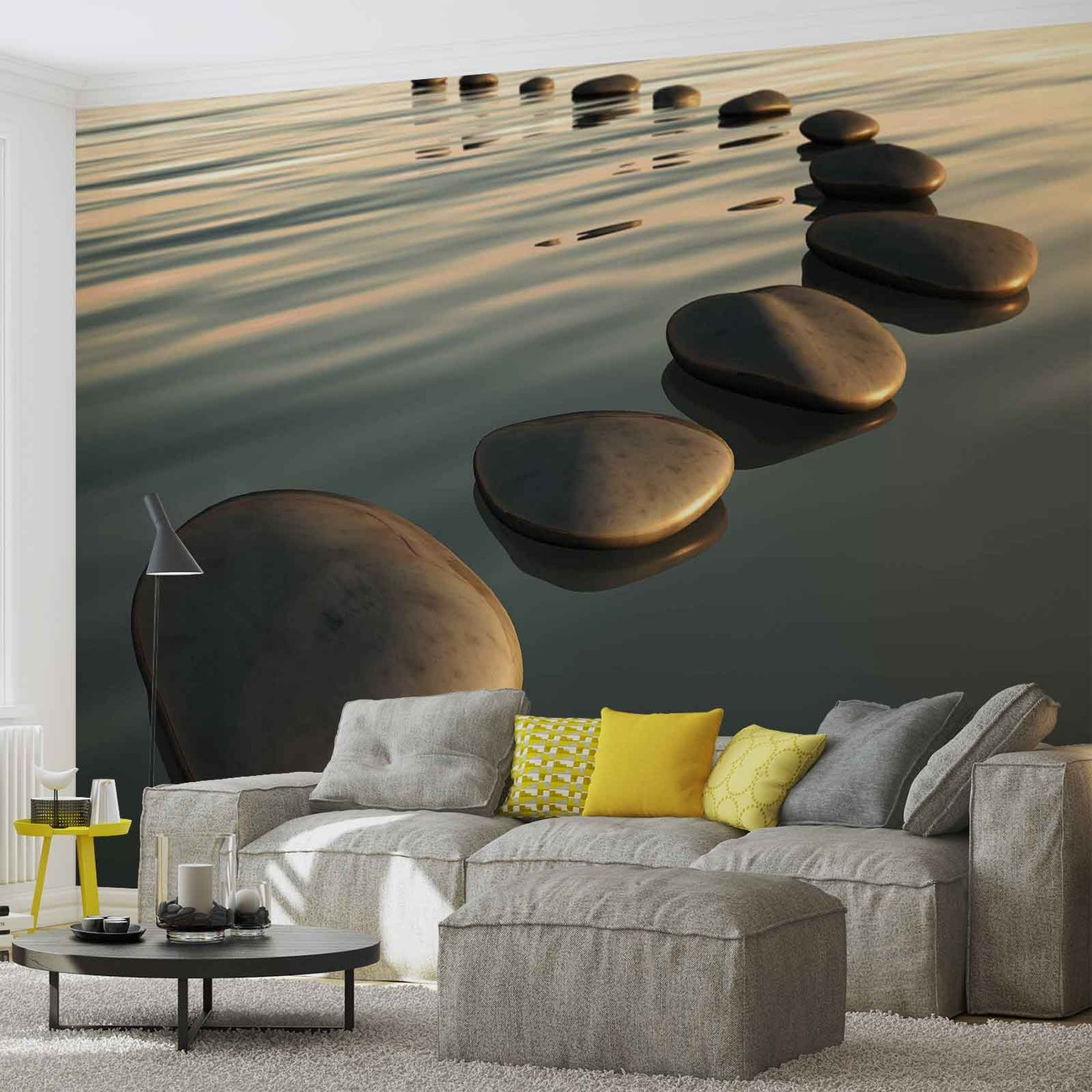 Stones ripples zen wall paper mural buy at europosters for Poster mural geant zen