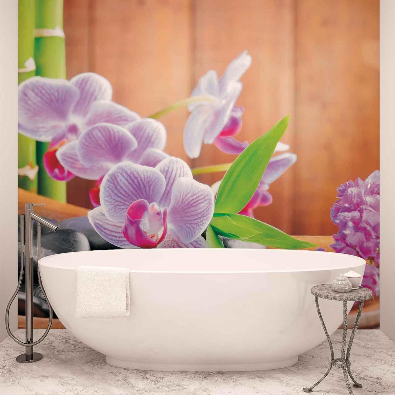 Flowers orchids zen wall paper mural buy at for Poster mural zen deco