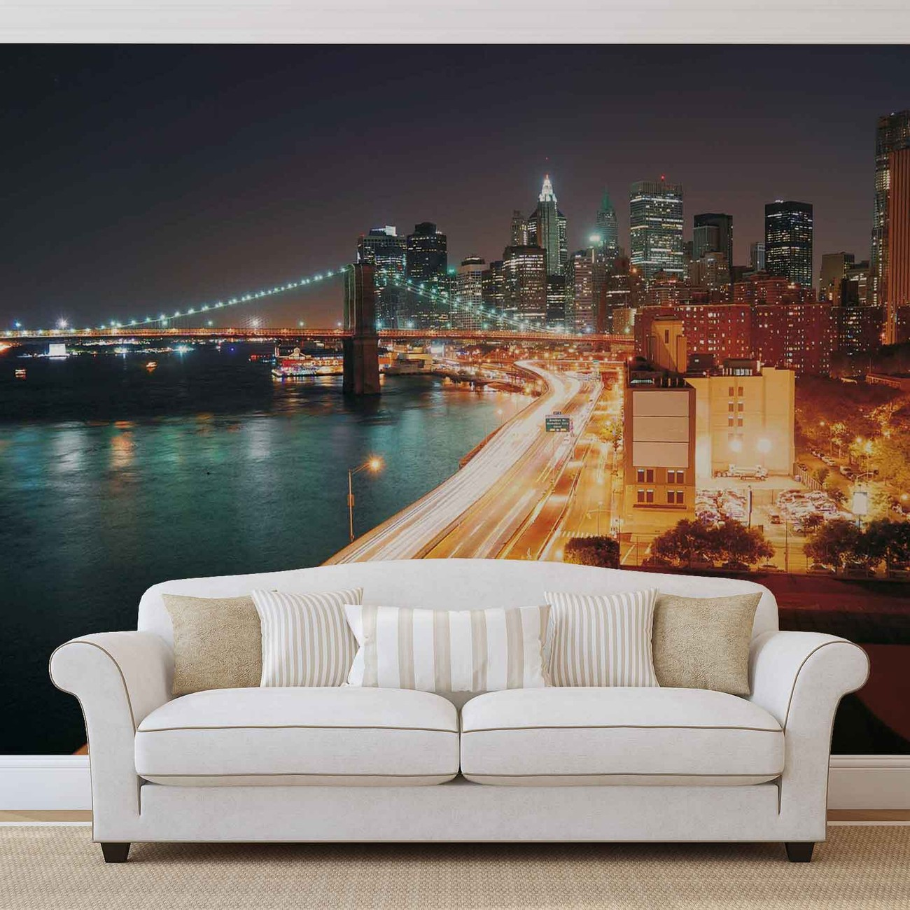 New york city skyline night wall paper mural buy at for City skyline wall mural