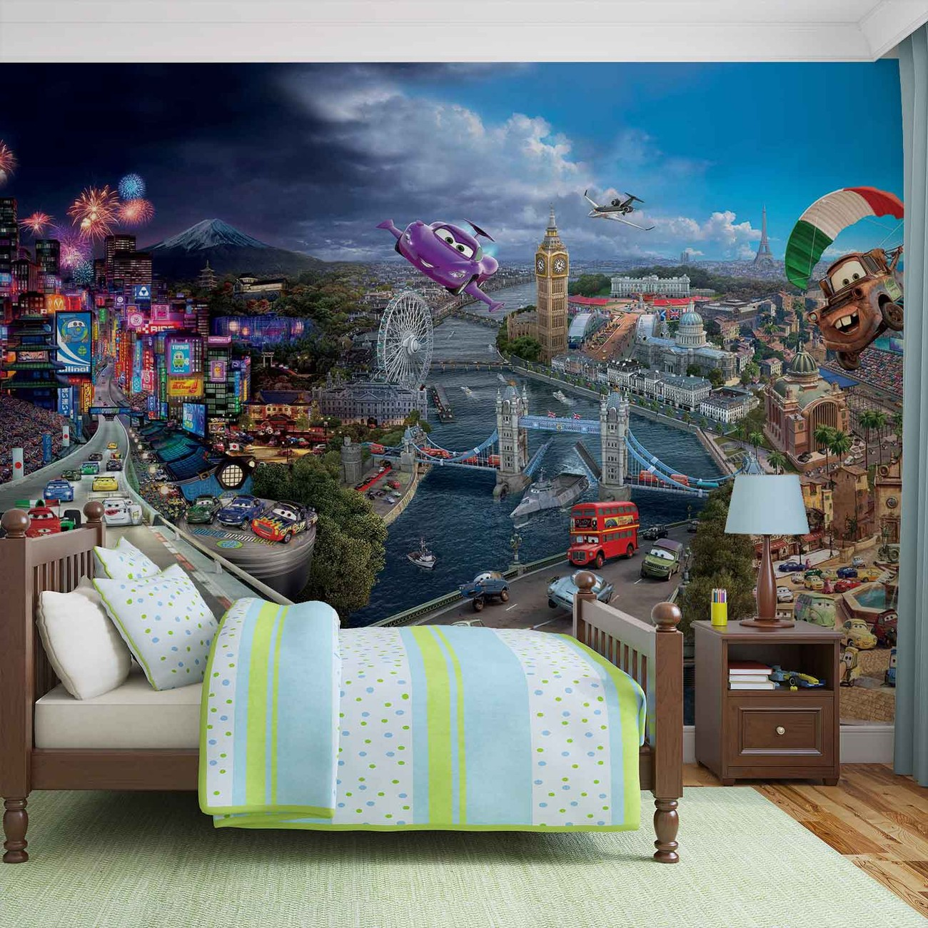 Disney cars lightning mcqueen bernoulli wall paper mural for Cars movie wall mural