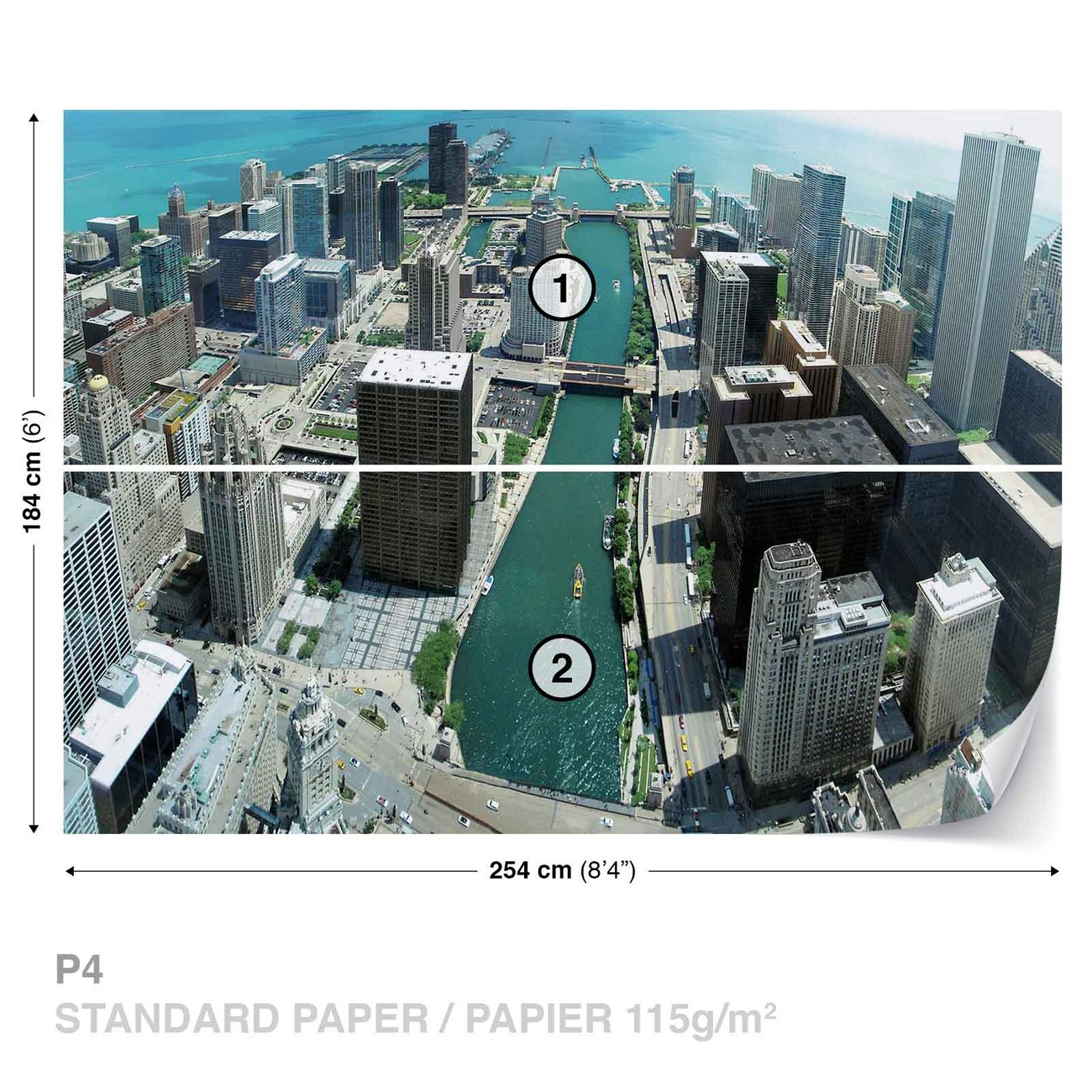 City chicago wall paper mural buy at for Chicago wall mural
