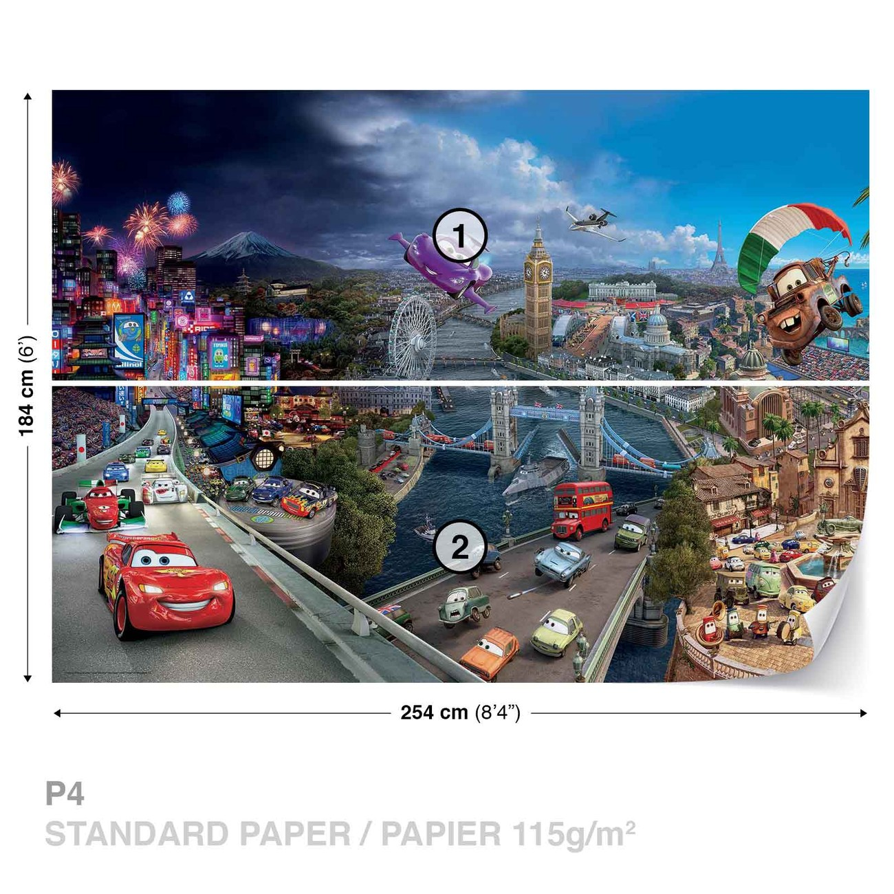 Disney cars lightning mcqueen bernoulli wall paper mural for Disney cars wall mural uk