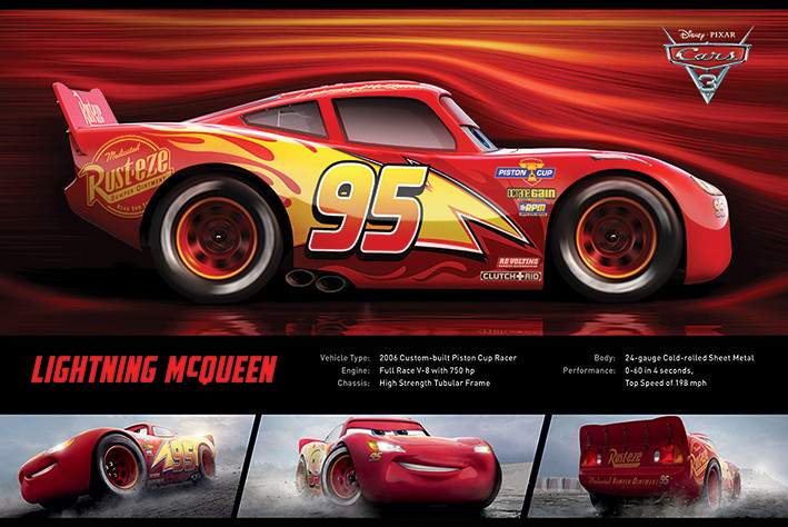 Cars 3 lightning mcqueen stats poster sold at europosters - Auto flash mcqueen ...