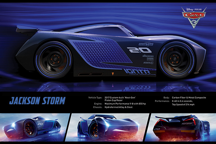 cars 3 jackson storm stats poster sold at europosters. Black Bedroom Furniture Sets. Home Design Ideas