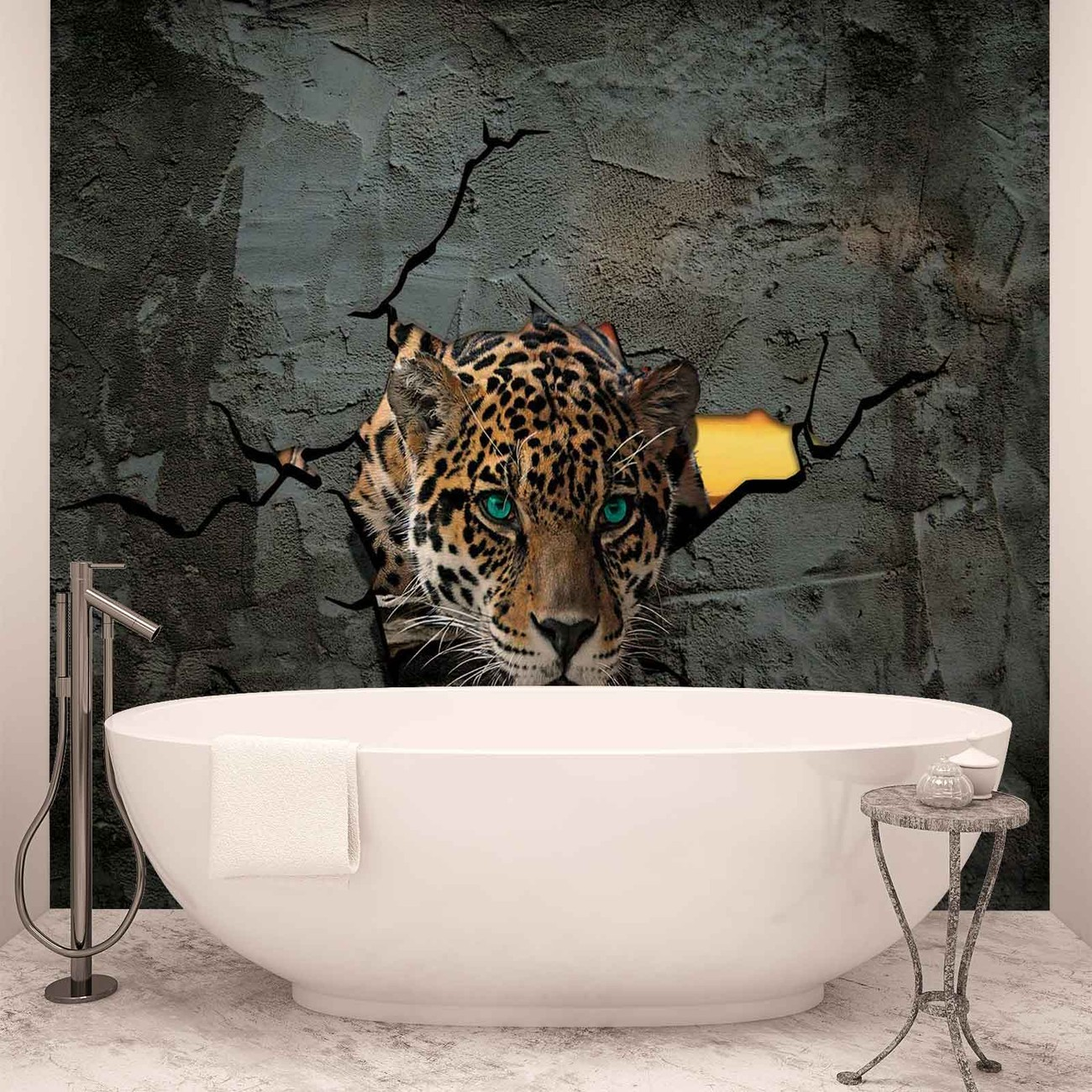 leopard 3d wall paper mural buy at europosters. Black Bedroom Furniture Sets. Home Design Ideas