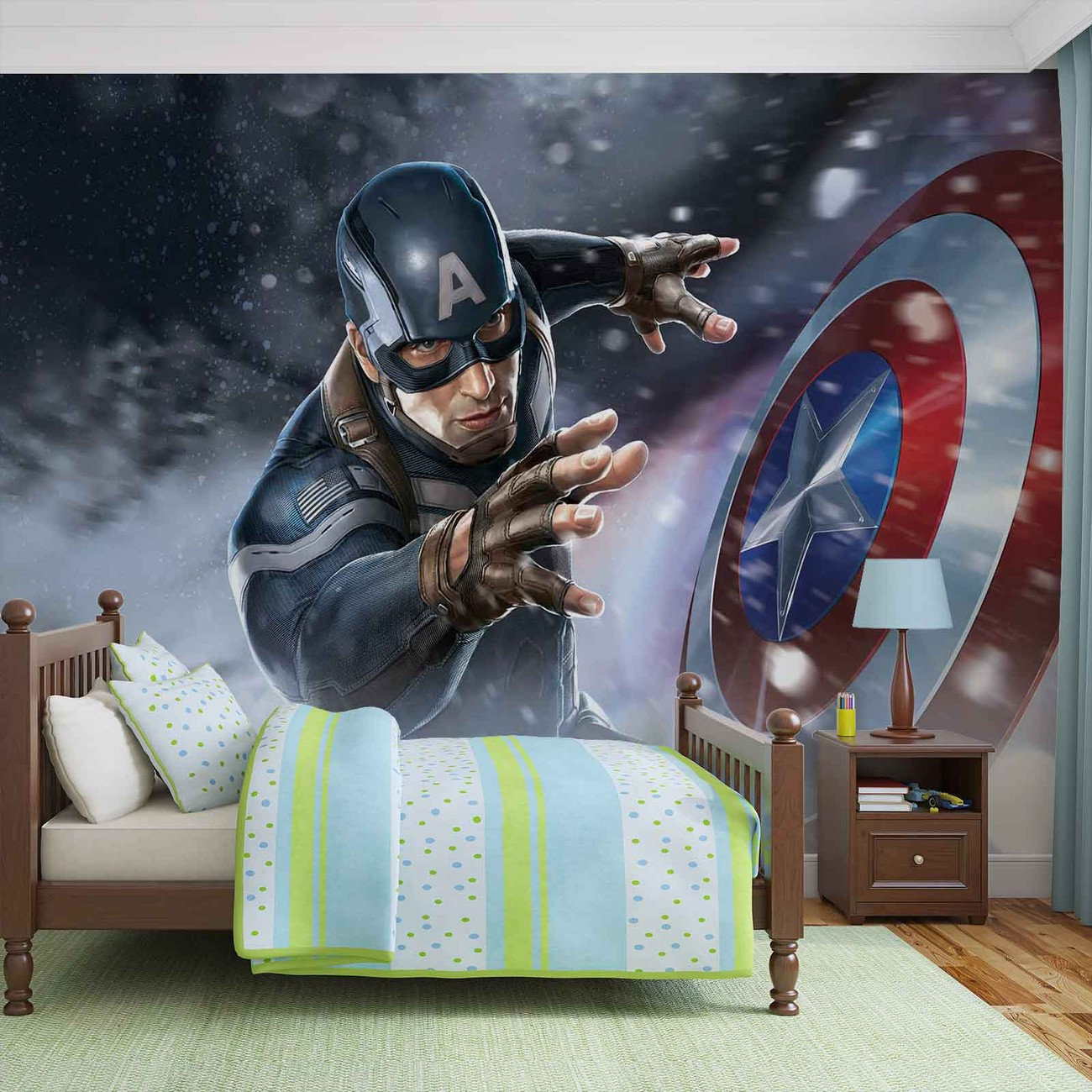 Avengers captain america wall paper mural buy at for Avengers wall mural uk