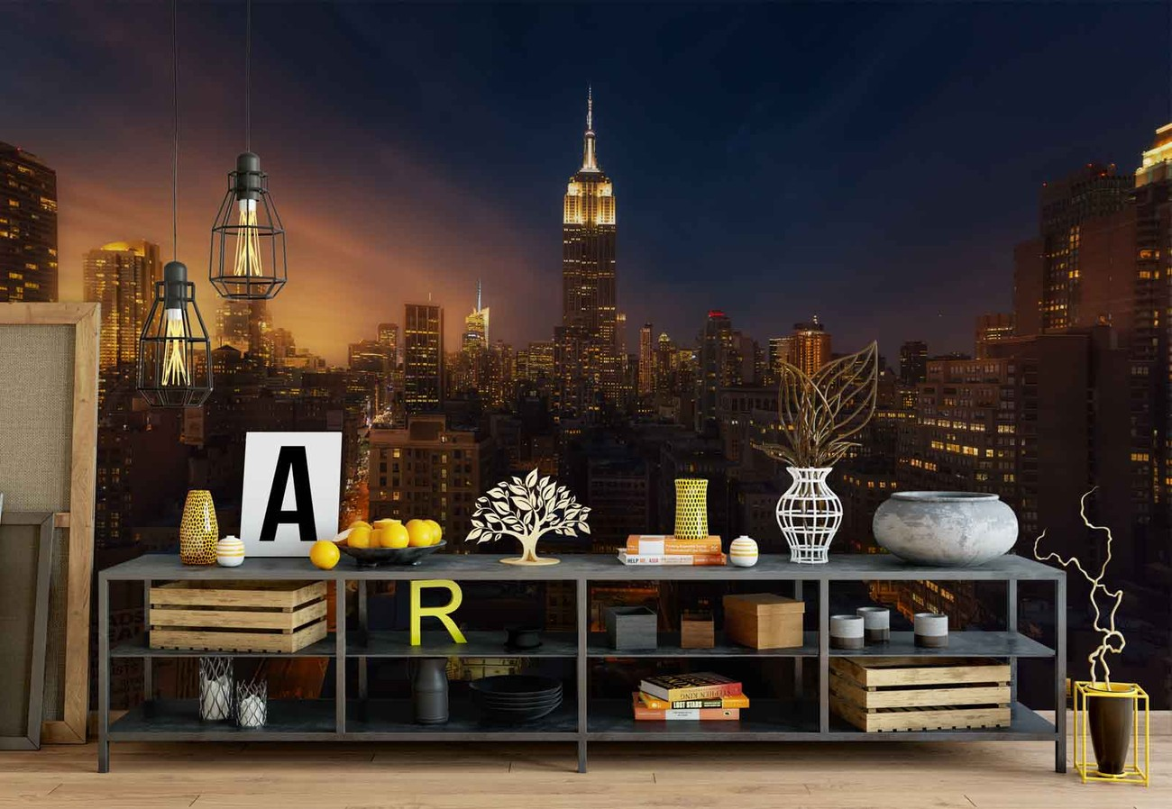 Nyc empire state building wall paper mural buy at for Empire state building wall mural