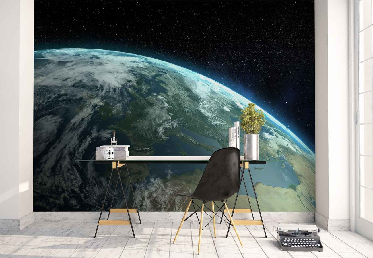 Planet earth wall paper mural buy at europosters for Earth rising wall mural