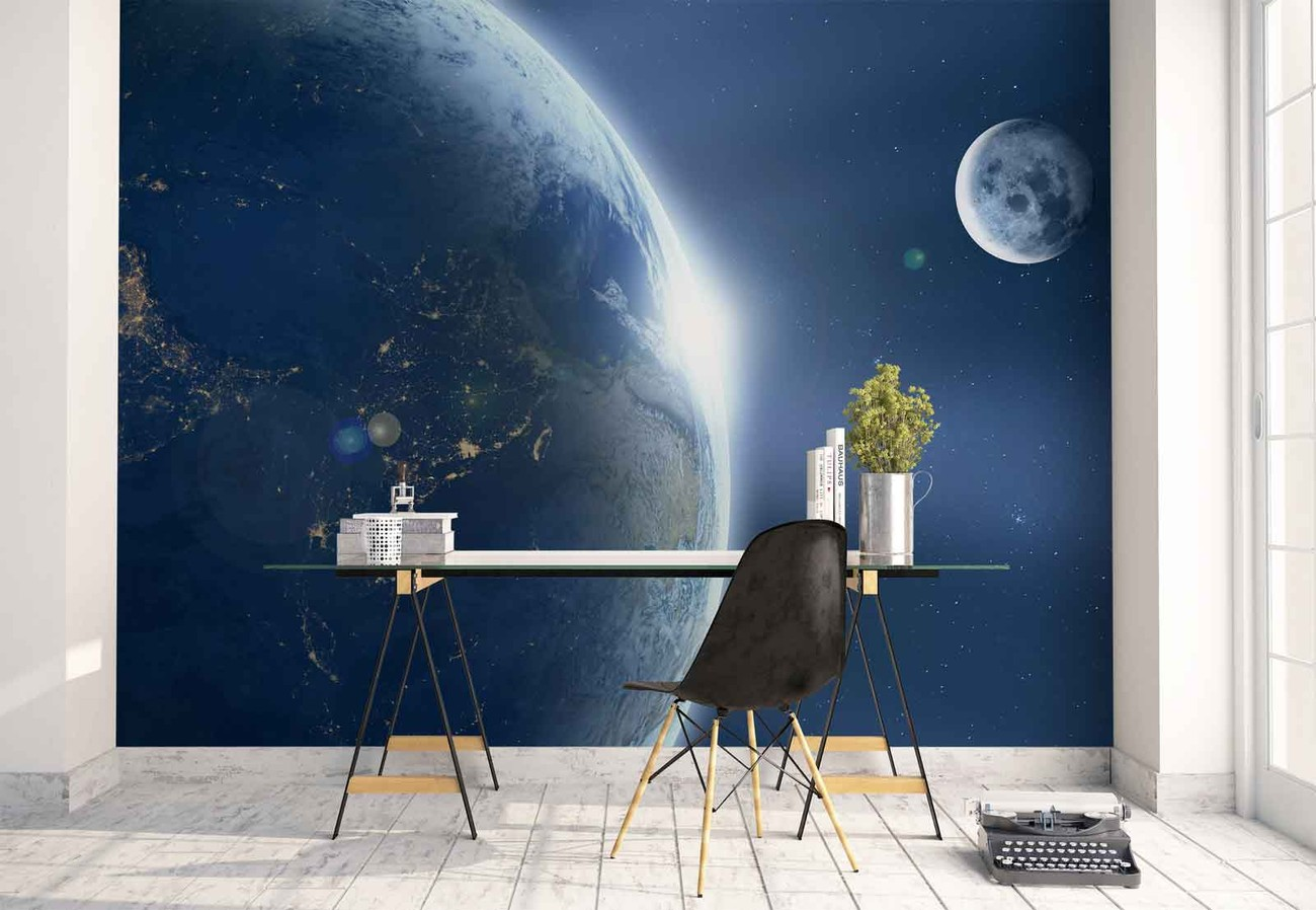 Earth and moon wall paper mural buy at europosters for Earthrise mural