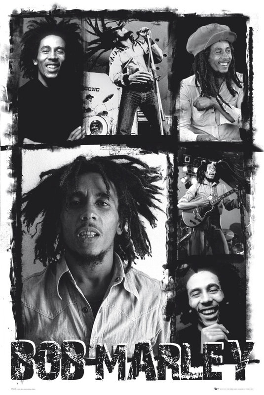 bob marley photo collage poster sold at europosters. Black Bedroom Furniture Sets. Home Design Ideas