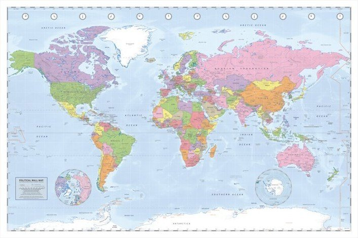 World map political poster sold at europosters world map political poster gumiabroncs Image collections