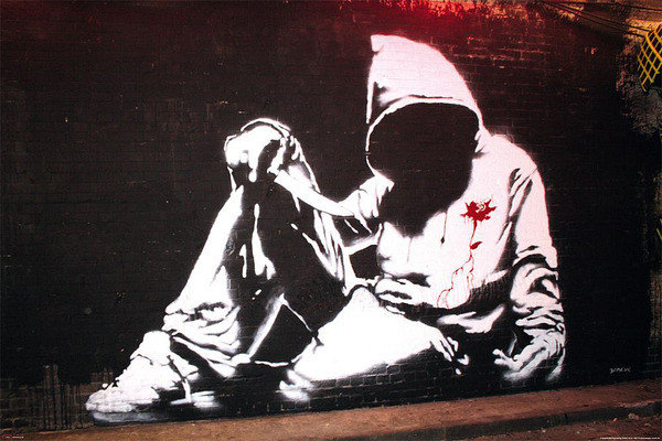 banksy street art hoodie poster affiche acheter le sur. Black Bedroom Furniture Sets. Home Design Ideas