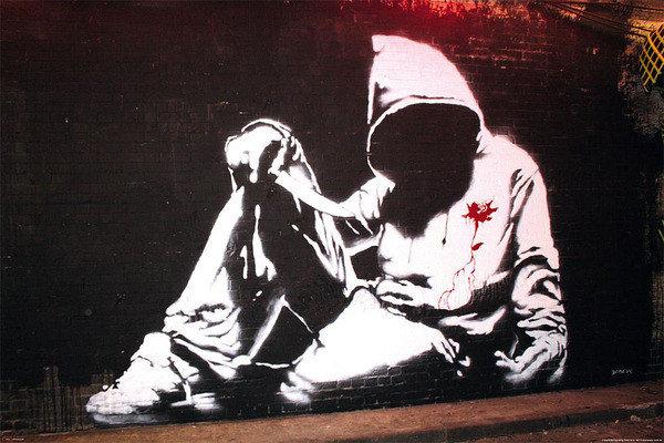banksy street art hoodie poster affiche acheter le. Black Bedroom Furniture Sets. Home Design Ideas