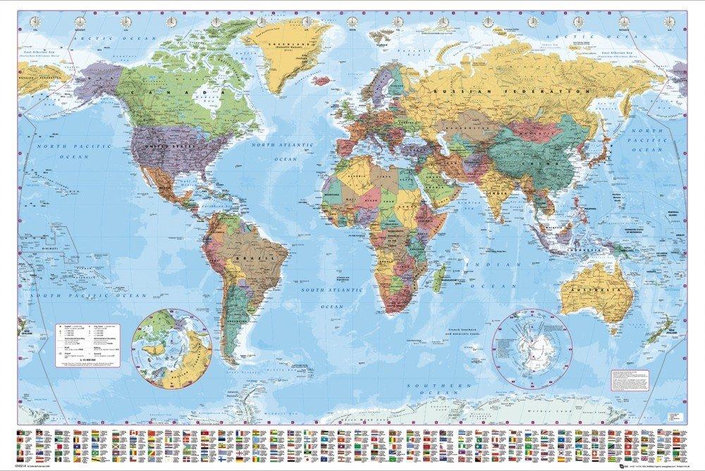 carte politique du monde poster affiche acheter le sur. Black Bedroom Furniture Sets. Home Design Ideas