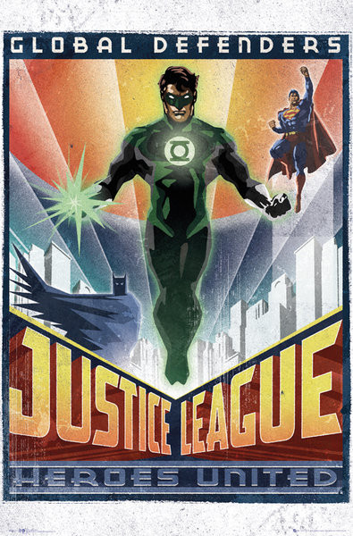 dc comics green lantern art deco poster affiche acheter le sur. Black Bedroom Furniture Sets. Home Design Ideas