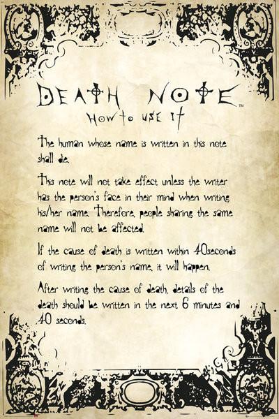 death note rules poster affiche acheterle sur