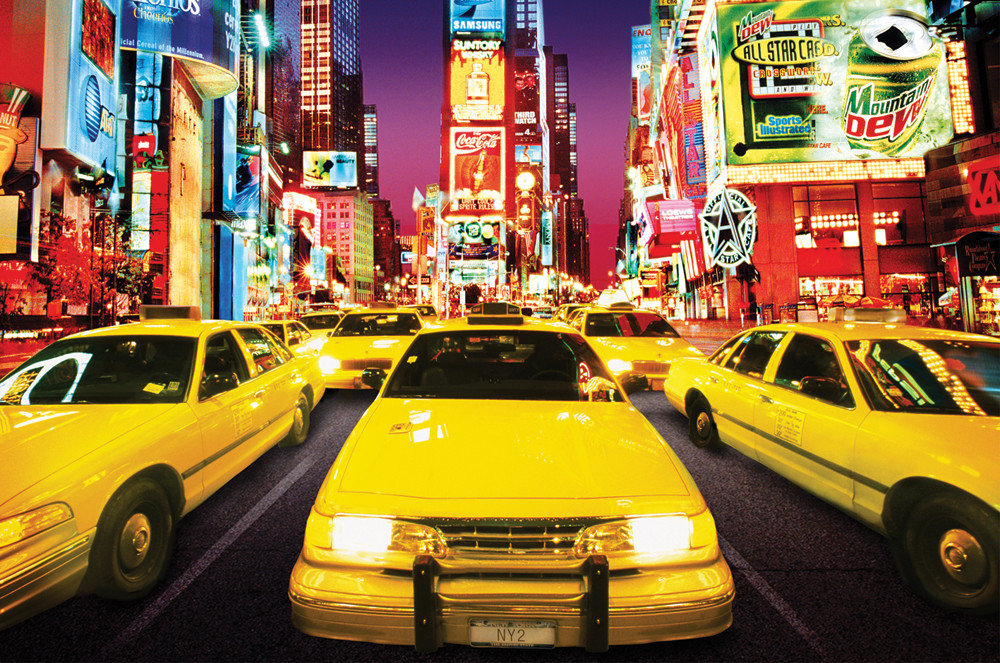 times square taxi poster affiche acheter le sur. Black Bedroom Furniture Sets. Home Design Ideas