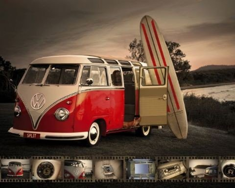 vw camper combi surf poster affiche acheter le sur. Black Bedroom Furniture Sets. Home Design Ideas