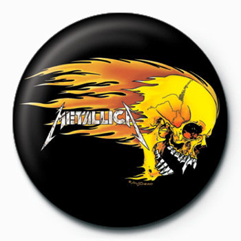 Metallica Flaming Skull Badge Button Sold At Ukposters