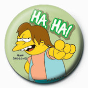 the simpsons nelson muntz ha ha badge button sold at europosters