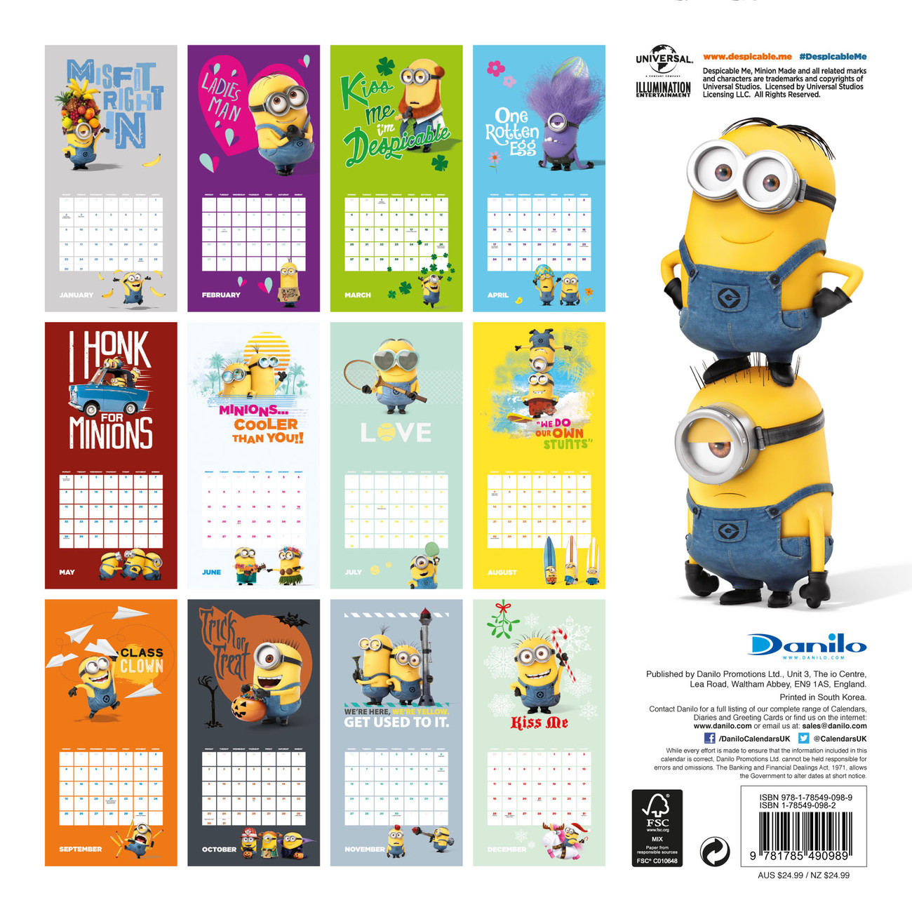 Minion Calendar 2020 Despicable me   Minions   Calendars 2020 on UKposters/Abposters.com