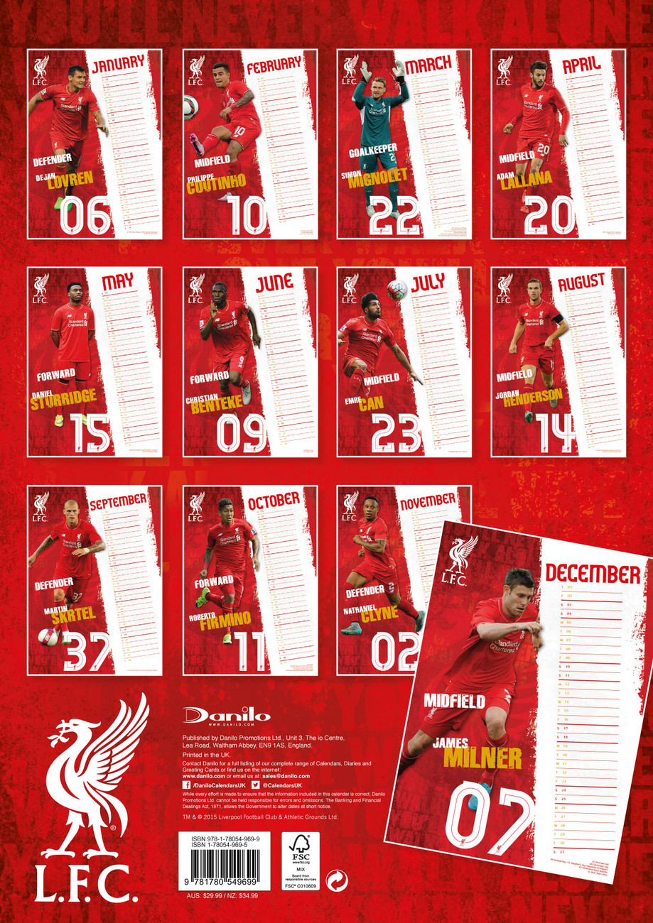4bf1d0f96 Liverpool FC - Calendars 2019 on UKposters EuroPosters