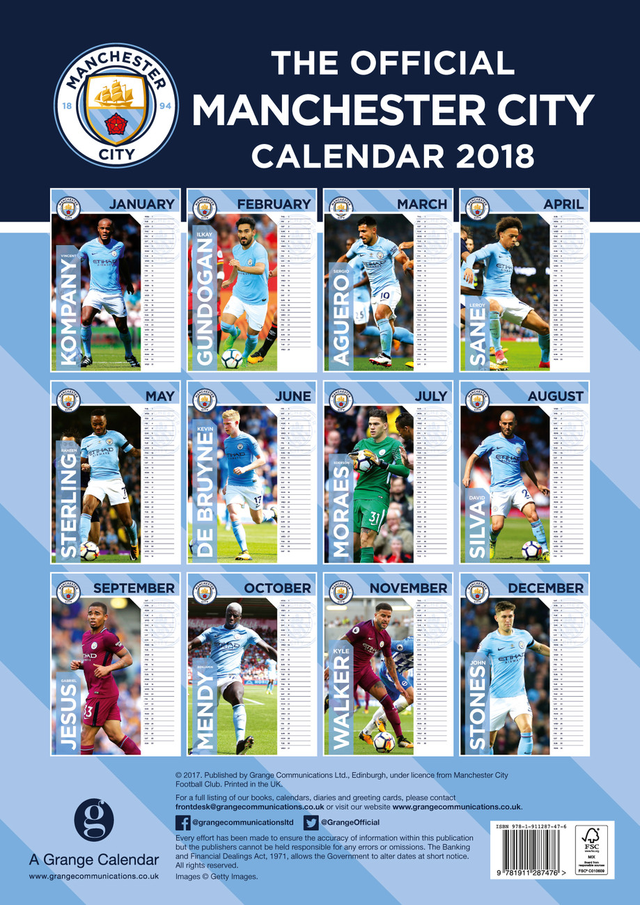 Manchester City - Calendars 2019 on UKposters/EuroPosters