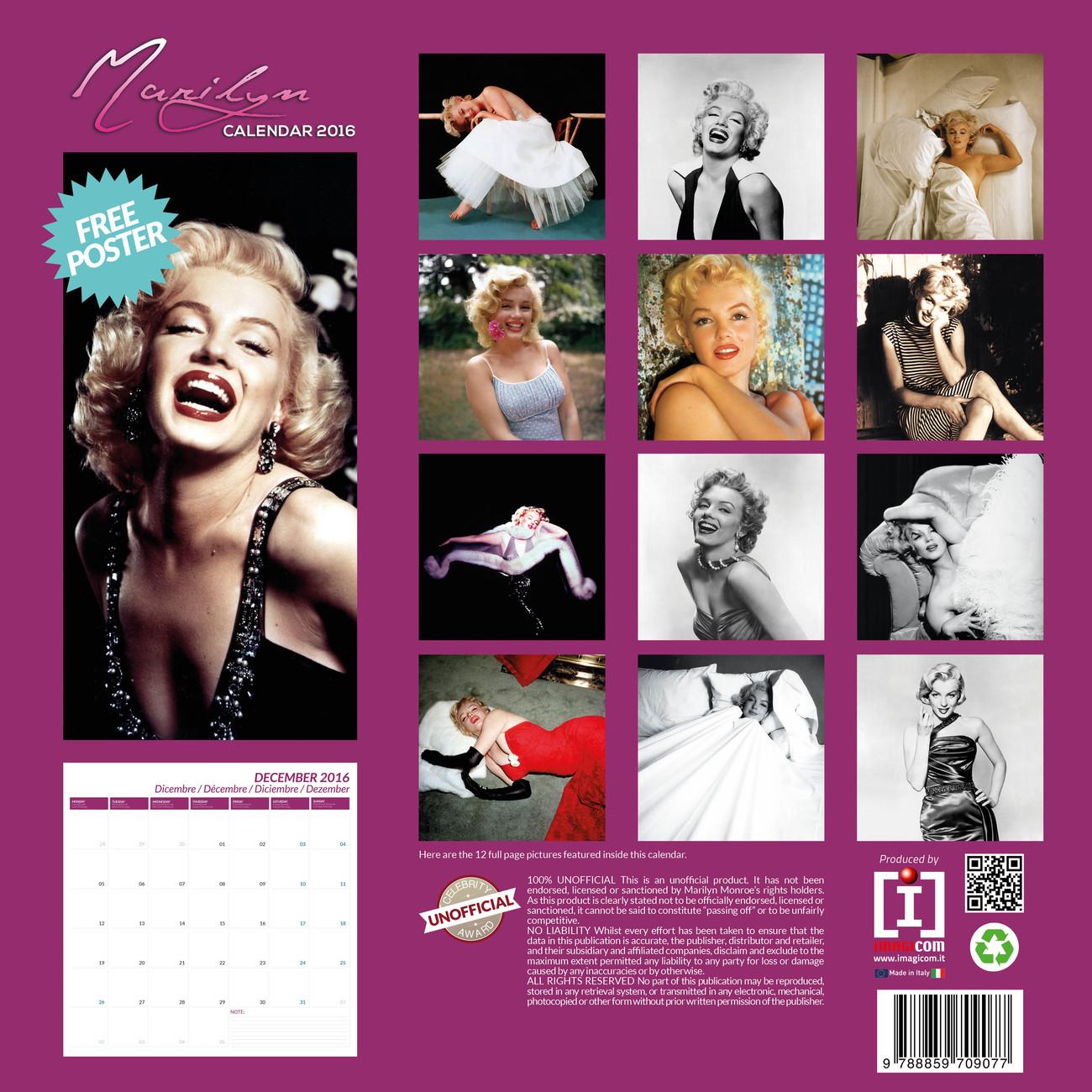 Marilyn Monroe Calendars 2019 On Ukposters Europosters