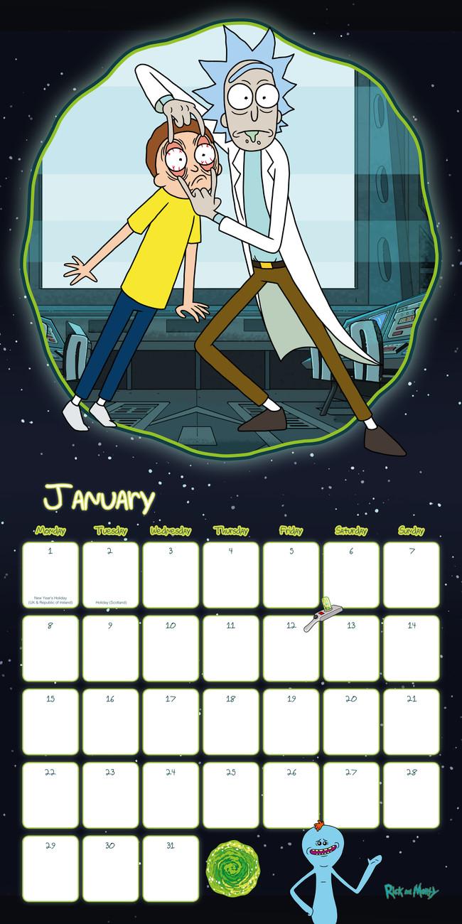 Calendario Golf 2020.Calendar 2020 Rick And Morty