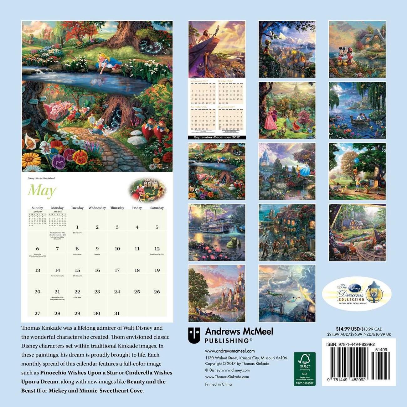 kinkade naptár Thomas Kinkade   The Disney Dreams Collection   Calendars 2019 on  kinkade naptár