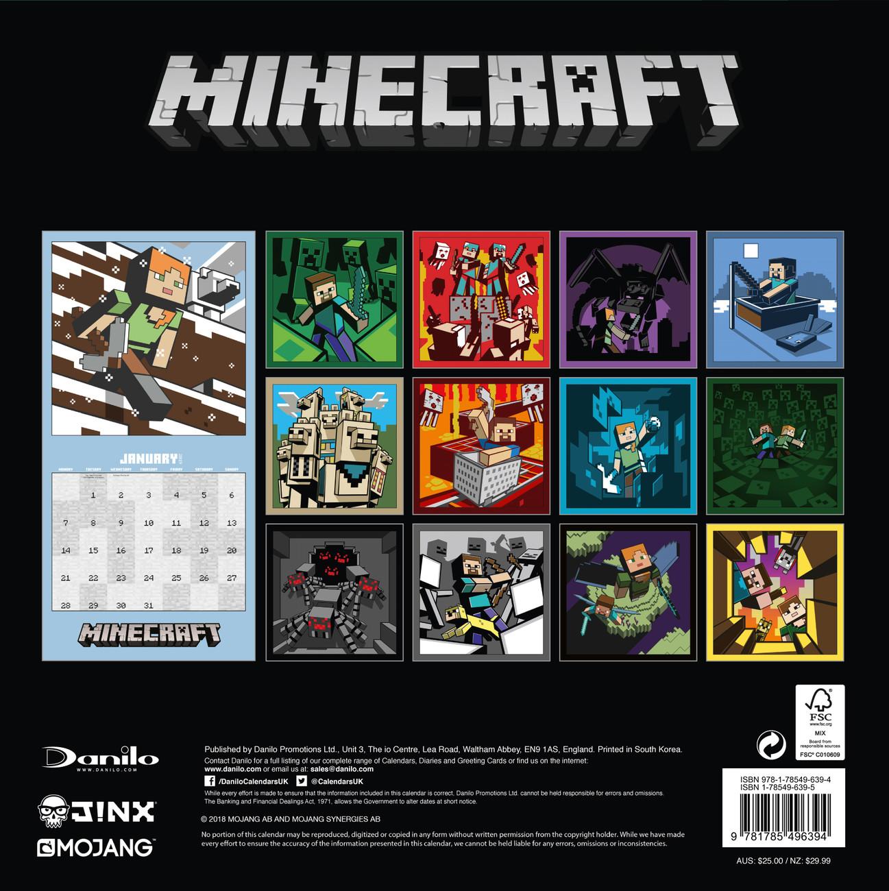 Calendário Minecraft