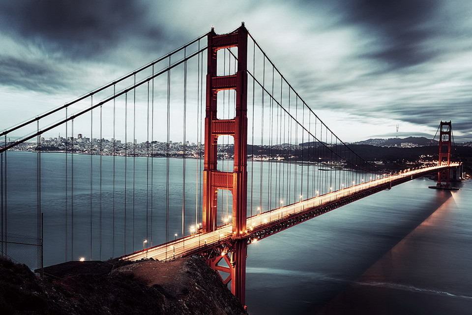 Wall glass art golden gate dark san francisco buy for Buy art san francisco