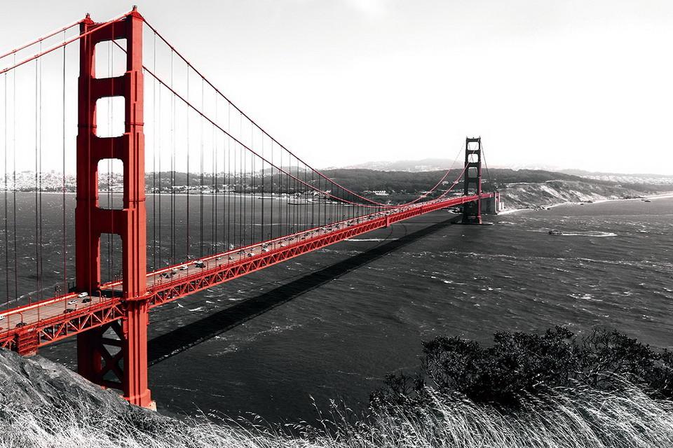Wall Glass Art Golden Gate Red Bridge B Amp W San