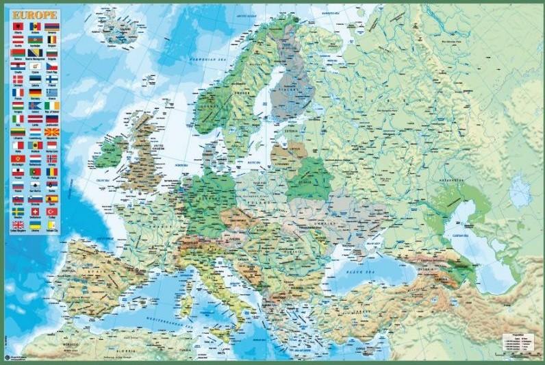 Euroopan Poliittinen Ja Fyysinen Kartta Juliste Poster Tilaa