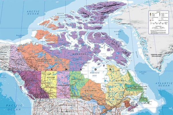Kanada Poliittinen Kartta Juliste Poster Tilaa Netista