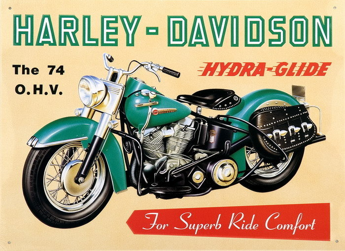 harley davidson - hydra glide tin signs, metal signs | sold at